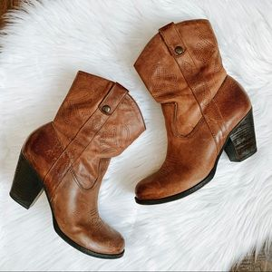 Gianni Bini Distressed Leather Short Cowboy Boots